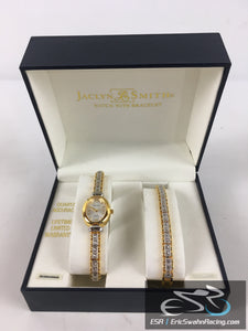Jaclyn Smith Gold Quartz Watch With Bracelet And Gift Box