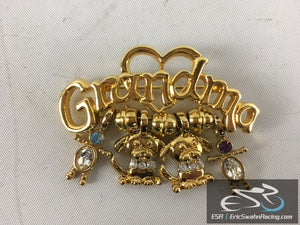 Gold Grandma Blue Purple Gemstone Heart Pin wIth Dogs