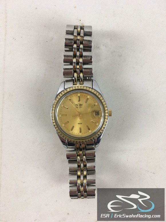 Timex Quartz  Water Resistant Silver Band with Gold Face Watch Timepiece