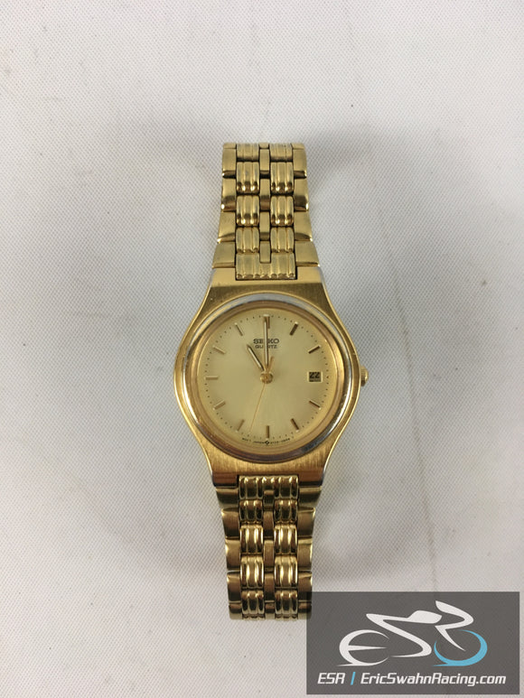 Seiko Quartz Water Resistant Gold Band With Gold Face Watch Timepiece