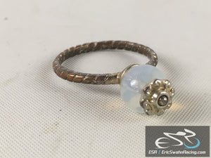 Gold / Bronze Fashion Ring Jewelry With Pearl