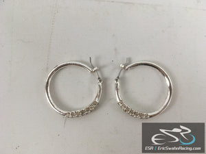"Silver 1"" Circle Earrings With Diamonds Fashion Jewelry"
