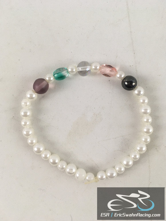 White Pearl Fashion Jewelry Stretchy Bracelet With Colorful Beads