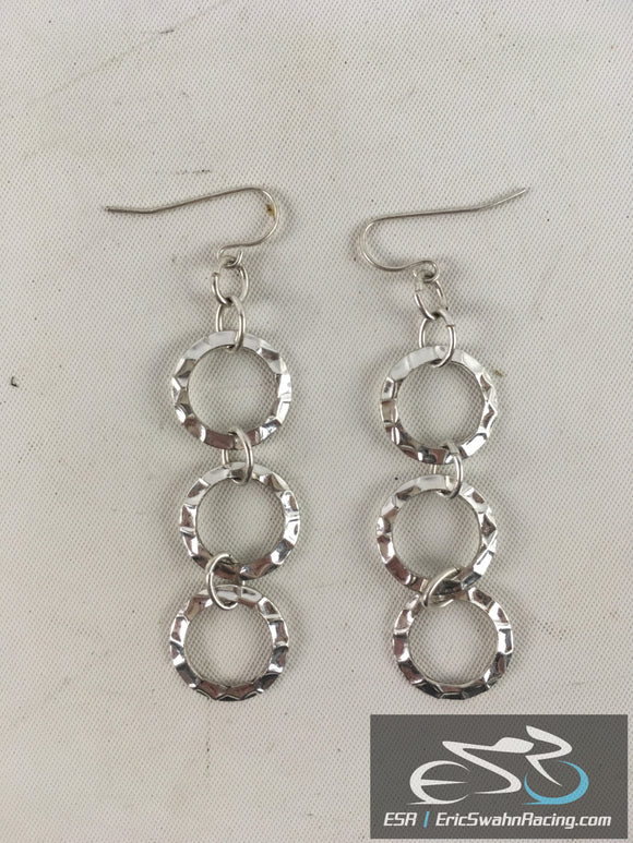 Set Of Two Silver Three Circle Hanging Fashion Earrings