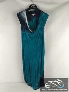Boston Proper Women's Long Blue Dress With Brown String Tie Size Small