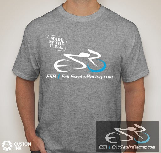 ESR Eric Swahn Racing Gray/Light Steel Hanes 50/50 Custom Ink T-Shirt