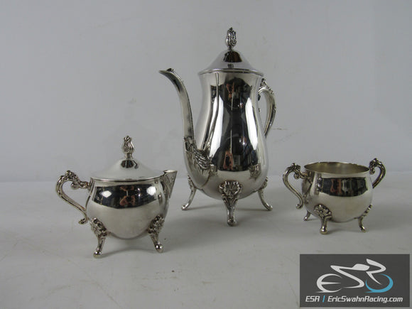Leonard Silver Plate Three Piece Teapot/Coffee Pot Set With Creamer, Sugar Bowls