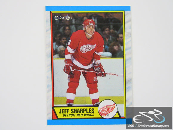 Jeff Sharples 42 Detroit Red Wings NHL Hockey Card O-Pee-Chee 1989