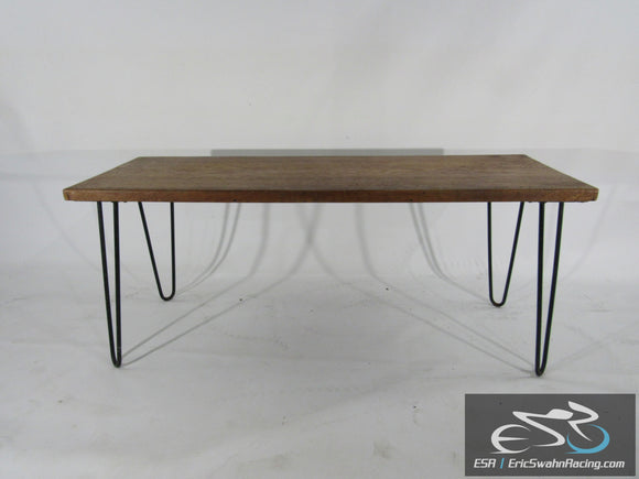 Wooden Cocktail Table with Metal Hairpin Legs 40x14x17