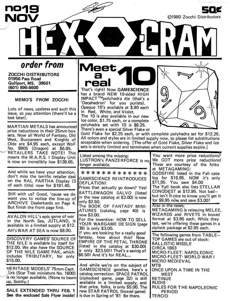 Hex-O-Gram announcement of new d10 dice