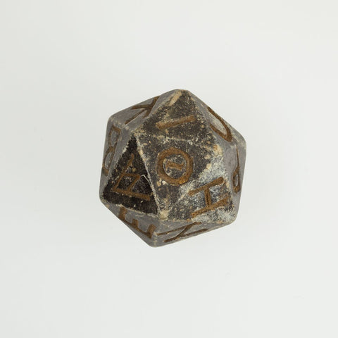 Twenty-sided die (icosahedron) with faces inscribed with Greek letters,2nd century B.C.–4th century A.D.