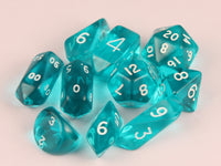 10-Piece Crystal Hybrid Translucent Dice Set - Aqua