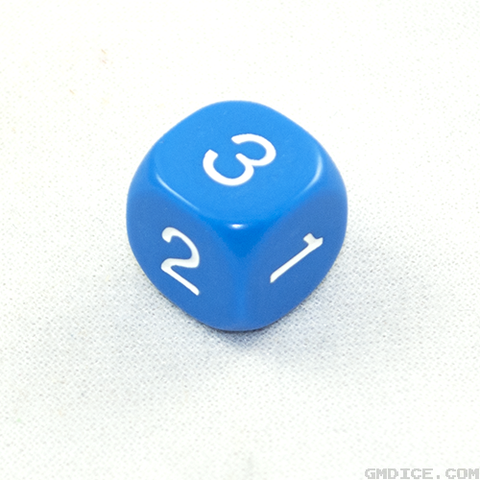 A six-sided dice with the numbers 1, 2, and 3 repeated, in blue.