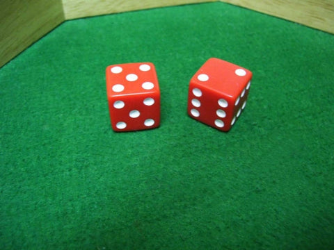 Set of Six Sided Loaded Opaque Red Dice that Roll 7's or 11's