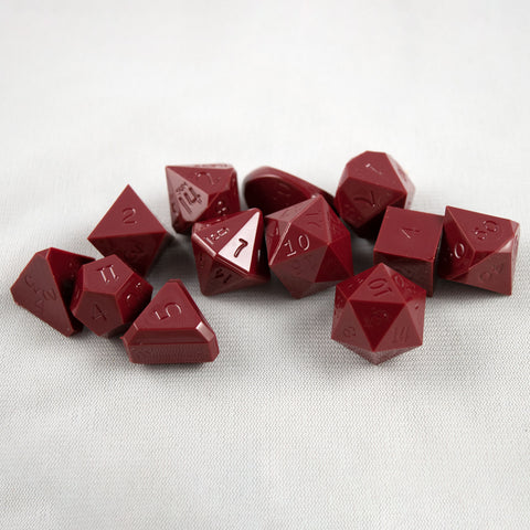 Set of 12 Gamescience Opaque Garnet Red Precision Dice