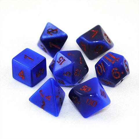 Synthetic Blue Cat's Eye Stone 14mm Dice Set and Bag