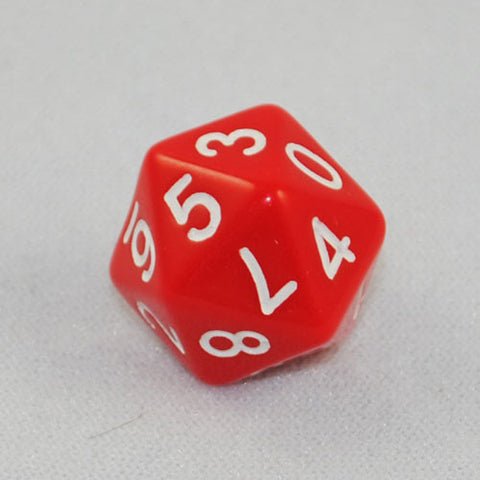 Twenty-Sided D10 Dice 0-9 Twice (Red)