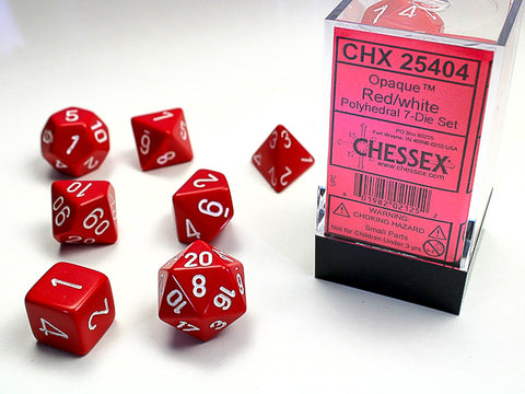 Chessex Opaque Polyhedral Red/white 7-Die Set