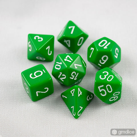 Chessex Opaque Polyhedral Green/white 7-Die Set