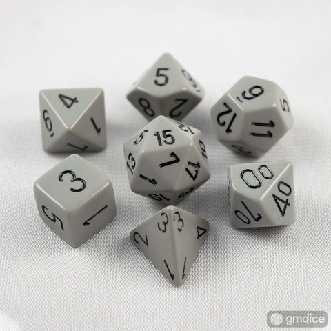 Chessex Opaque Polyhedral Dark Grey/black 7-Die Set