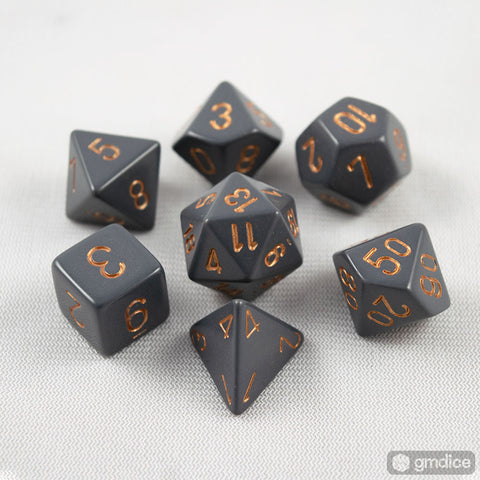 Chessex Opaque Polyhedral Dark Grey/copper 7-Die Set
