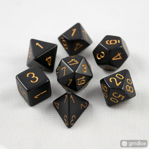 Chessex Opaque Polyhedral Black/gold 7-Die Set