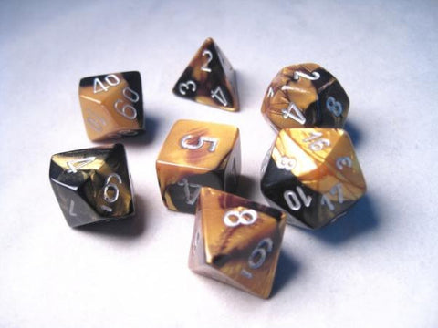 Set of 7 Chessex Gemini Black-Gold w/silver RPG Dice