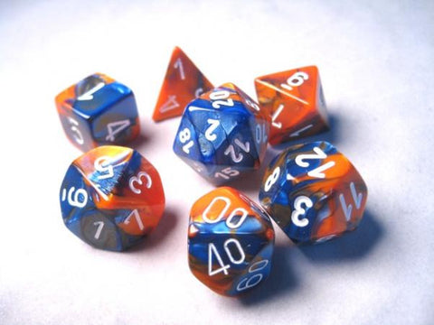 Set of 7 Chessex Gemini Blue-Orange w/white RPG Dice