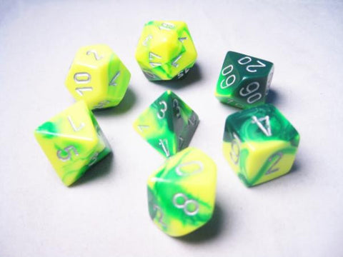 Set of 7 Chessex Gemini Green-Yellow w/silver RPG Dice