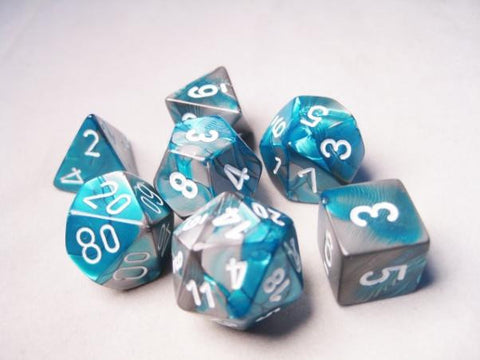 Set of 7 Chessex Gemini Steel-Teal w/white RPG Dice