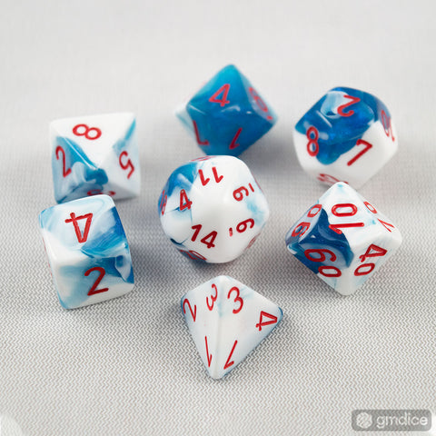 Set of 7 Chessex Gemini Astral Blue-White w/red RPG Dice
