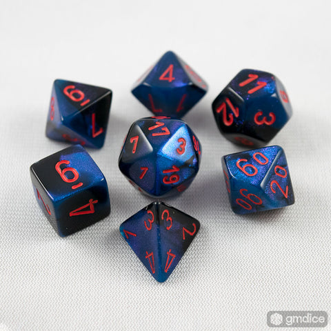 Set of 7 Chessex Gemini Black-Starlight with Red RPG Dice