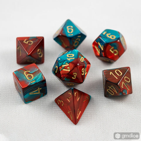 Set of 7 Chessex Gemini Red-Teal with Gold RPG Dice