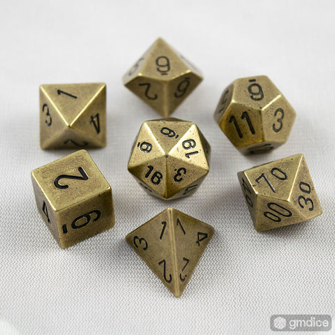 Set of 7 Chessex Metal Old Brass RPG Dice