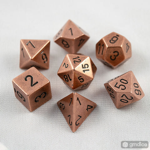 Set of 7 Chessex Metal Copper RPG Dice