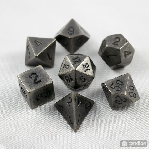 Set of 7 Chessex Dark Metal RPG Dice