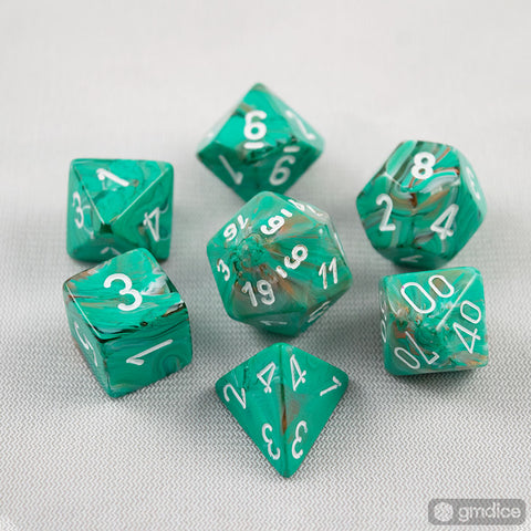 Set of 7 Chessex Marble Oxi-Copper/white RPG Dice