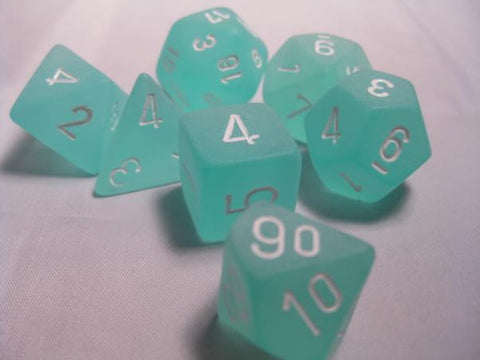 Set of 7 Chessex Frosted Teal/white RPG Dice