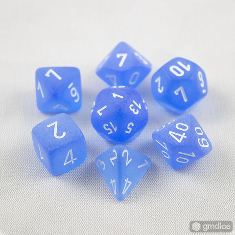 Set of 7 Chessex Frosted Blue/white RPG Dice