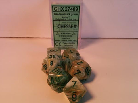 Set of 7 Chessex Marble Green/dark green RPG Dice