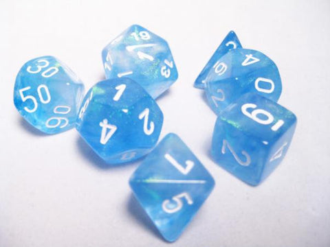 Set of 7 Chessex Borealis Sky Blue/white RPG Dice