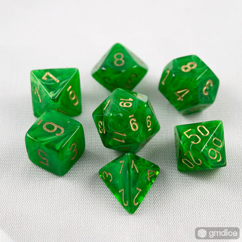 Set of 7 Chessex Vortex Green/gold RPG Dice