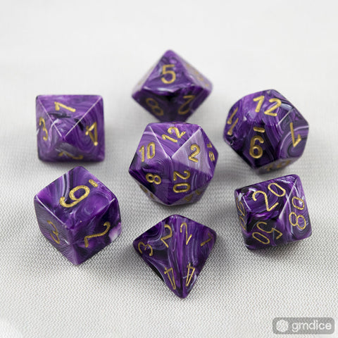 Set of 7 Chessex Vortex Purple/gold RPG Dice