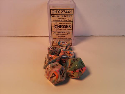 Set of 7 Chessex Festive Vibrant/brown RPG Dice