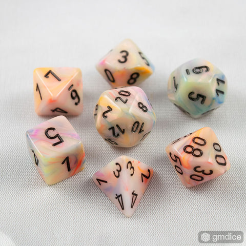 Set of 7 Chessex Festive Circus/black RPG Dice