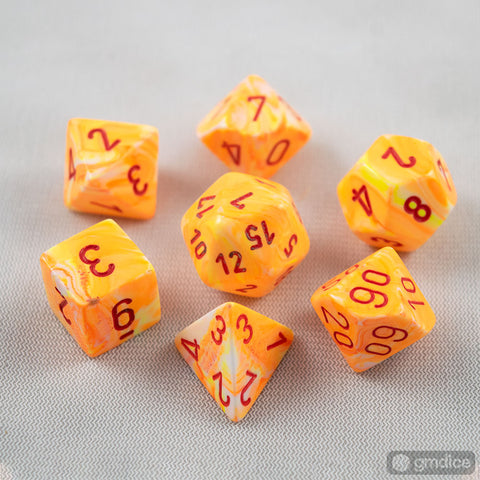 Set of 7 Chessex Festive Sunburst/red RPG Dice