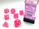 Set of 7 Chessex Frosted Pink/white RPG Dice