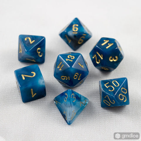 Set of 7 Chessex Phantom Teal/gold RPG Dice