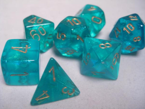 Set of 7 Chessex Borealis Teal/gold RPG Dice