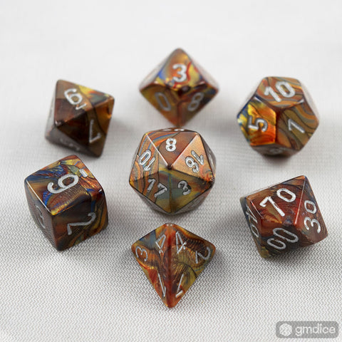 Set of 7 Chessex Lustrous Gold/silver RPG Dice